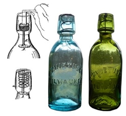 Albert Albertson patented coiled spring stopper bottle - made by John Matthews