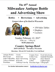 Milwaukee Antique Bottle and Advertising Club Show and Sale - Sunday, February 12, 2017