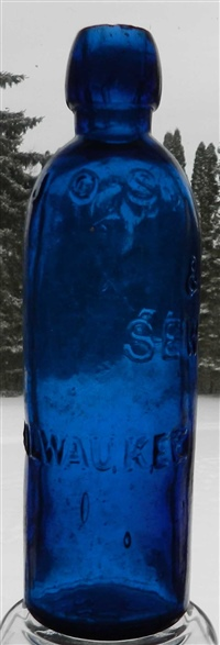 JOS WOLF  SEWARD MILWAUKEE cobalt blue hutch soda bottl