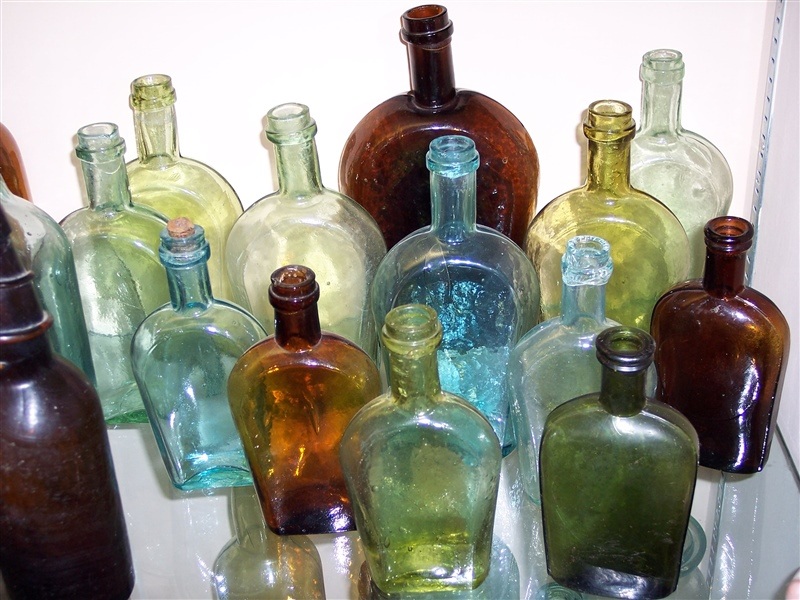 Assortment of Chase Valley Glass flasks