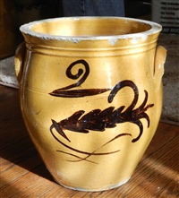 Whitewater cream pot two gallon with fern decoration